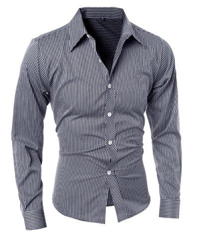 Chic Vogue Shirt Collar Vertical Stripe Slimming Long Sleeve Polyester Casual Shirt For Men - XL BLACK Mobile