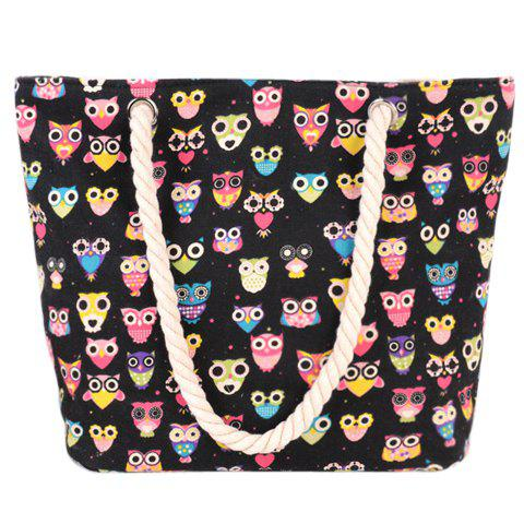 New Cute Owl Print and Canvas Design Beach Shoulder Bag BLACK
