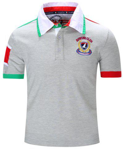 Store Turn-Down Collar Letters Badge Embroidered Color Block Spliced Short Sleeve Polo T-Shirt For Men GRAY M