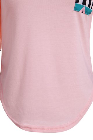 New Color Block Geometry Pocket T-Shirt - L SHALLOW PINK Mobile