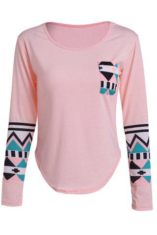 Discount Color Block Geometry Pocket T-Shirt - L SHALLOW PINK Mobile