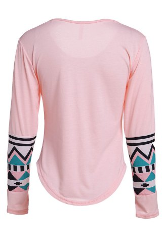 Outfits Color Block Geometry Pocket T-Shirt - L SHALLOW PINK Mobile