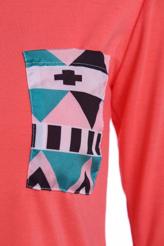 Shops Color Block Geometry Pocket T-Shirt - S RED Mobile