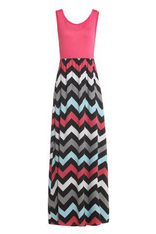 Sleeveless Maxi Chevron Tank A Line Dress - Watermelon Red - M
