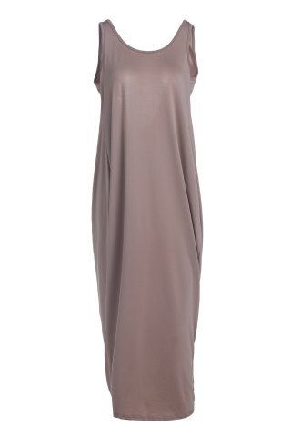 Discount Backless Drapped Maxi Tank Dress KHAKI L