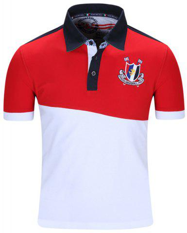 Turn-Down Collar Badge Embroidered Color Block Spliced Short Sleeve Polo T-Shirt Men