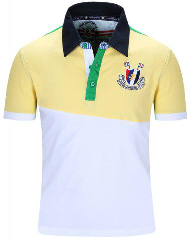 Store Turn-Down Collar Badge Embroidered Color Block Spliced Short Sleeve Polo T-Shirt For Men