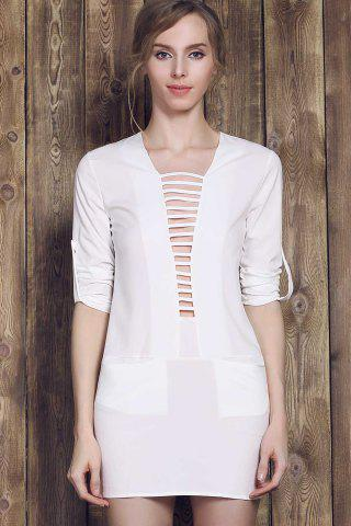 Buy Long Sleeve Plunge Ladder Cutout Dress - L WHITE Mobile