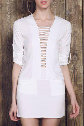 Discount Long Sleeve Plunge Ladder Cutout Dress - L WHITE Mobile
