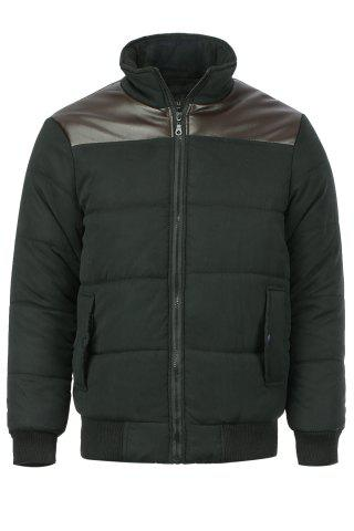 Stand Collar Slimming PU-Leather Splicing Long Sleeve Men's Cotton-Padded Jacket