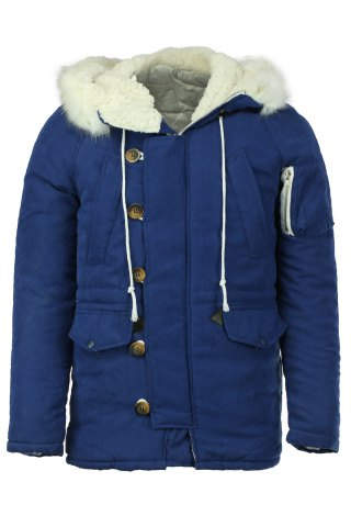 Zipper Pocket PU Leather Spliced Drawstring Hem Slimming Hooded Long Sleeves Men's Thicken Coat - CADETBLUE - S