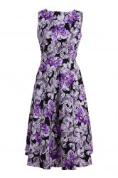 Stylish Round Neck Sleeveless Flower Pattern Women's Dress