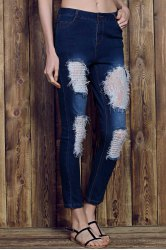 Rose Print See-Through Lace Spliced Ripped Jeans For Women - DEEP BLUE
