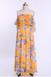 Ruched Floral Chiffon Bandeau Maxi Beach Dress