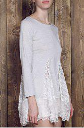 Lace Panel Skater Dress With Sleeves