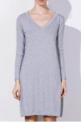 Simple Plunging Neck Long Sleeve Pure Color Women's Dress