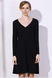 Simple Plunging Neck Long Sleeve Pure Color Women's Dress - BLACK
