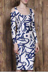 Sexy U-Neck Printed Shoulder Cut Out Long Sleeve Bodycon Dress For Women - COLORMIX