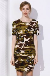 Camo Arc Hem Tunic T-Shirt Dress