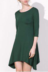 Casual Scoop Neck 3/4 Sleeve Solid Color Asymmetrical Women's Dress -