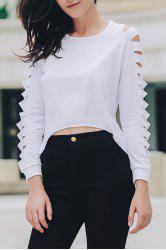 Sexy Solid Color Long Sleeve Frayed Ripped Cropped Blouse For Women -