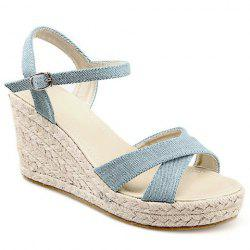 Casual Demin and Wedge Heel Design Sandals For Women