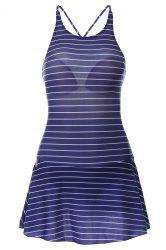 Sweet Backless Striped Flounced One-Piece Swimwear For Women