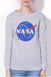 Casual Letter and Universe Printed Pullover Sweatshirt For Women