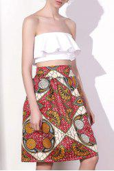 Chic High Waist Color Block Geometrical Print A-Line Skirt For Women - COLORMIX