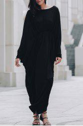 Maxi Batwing Long Sleeve Pleated Casual Dress