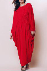 Stylish Round Neck Batwing Sleeve Loose-Fitting Maxi Dress For Women