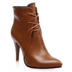 Stylish Solid Colour and Pointed Toe Design Women's High Heel Boots - BROWN