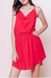 Stylish Spaghetti Strap Red Open Back Summer Dress For Women