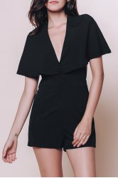 Fashionable Plunging Neck Half Sleeve Solid Color Hollow Out Cape Romper For Women -