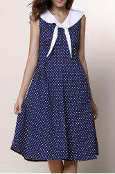 Vintage Sailor Collar Polka Dot Print Sleeveless Dress For Women