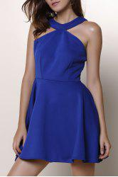 Halter Cut Out A Line Short Formal Dress