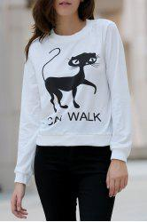Stylish Round Collar Long Sleeve Cat Pattern T-Shirt For Women -