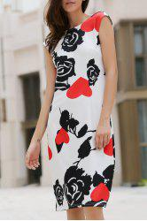 Rose Print Knee Length Formal Shift Dress - BLACK AND WHITE AND RED M