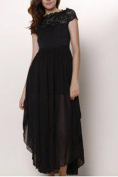 Lace Panel Chiffon Swing Prom Dress - BLACK