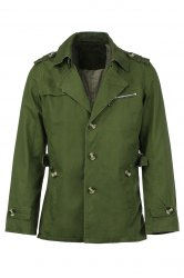 Turn-Down Collar Epaulet Single Breasted Long Sleeve Men's Trench Coat - ARMY GREEN