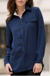 Stylish Shirt Collar Long Sleeves Loose-Fitting High Low Blouse For Women -