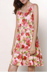 Fresh U Neck Sleeveless Floral Printed Dress For Women