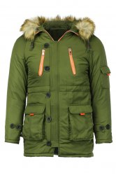 Color Block Multi-Zipper Stereo Patch Pocket Detachable Hooded Long Sleeves Men's Fitted Coat - ARMY GREEN