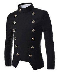 Novel Style Stand Collar Double-Breasted Slimming Solid Color Long Sleeves Men's Blazer - BLACK