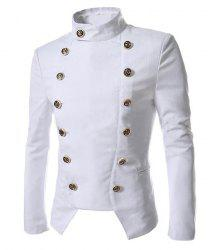 Novel Style Stand Collar Double-Breasted Slimming Solid Color Long Sleeves Men's Blazer - WHITE