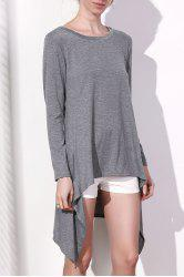 Long Sleeve Asymmetrical Knitted Tunic Dress - GRAY