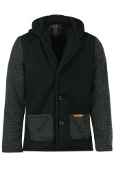 Slimming Hooded Stereo Pocket PU Leather Spliced Hit Color Long Sleeves Men's Woolen Blend Jacket - BLACK