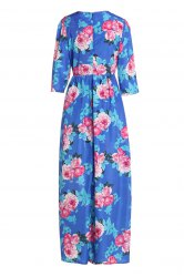 Bohemian Jewel Neck Floral Print Chiffon Dress For Women -