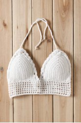 Sexy Halter Sleeveless Solid Color Knitted Women's Swimwear -