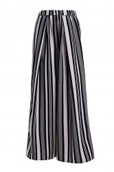 Vertical Striped Wide-Leg Palazzo Pants - WHITE AND BLACK